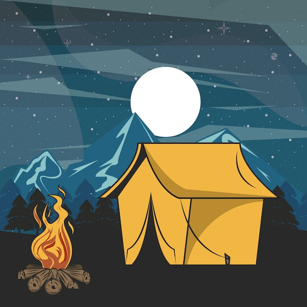 Camping adventure in forest at night scenery Free Vector