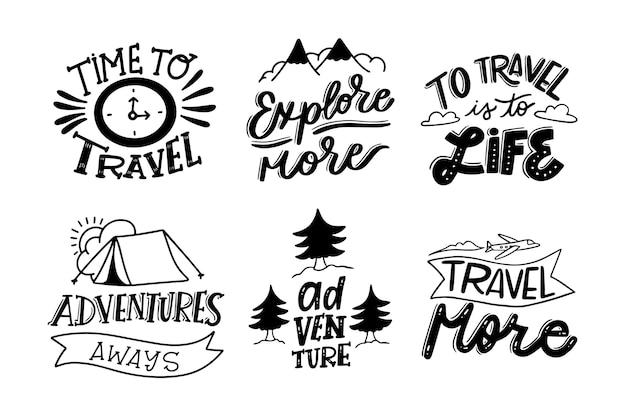 Camping & adventures lettering collection Free Vector
