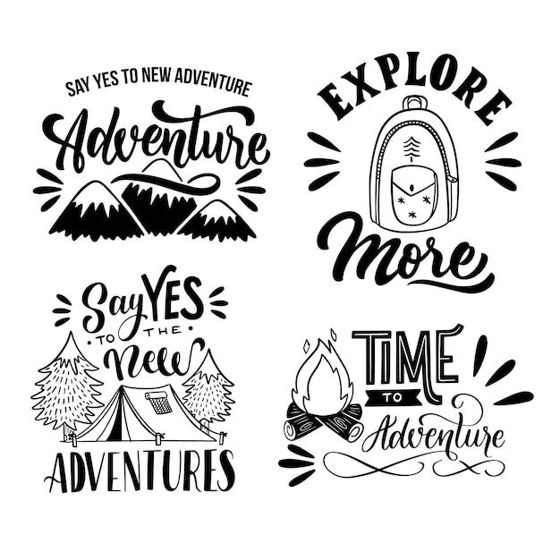 Коллекция надписей camping & adventures Бесплатные векторы