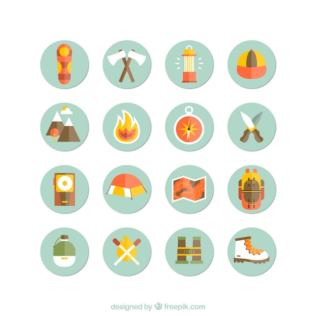 Camping and hiking icons Vector | Free Download