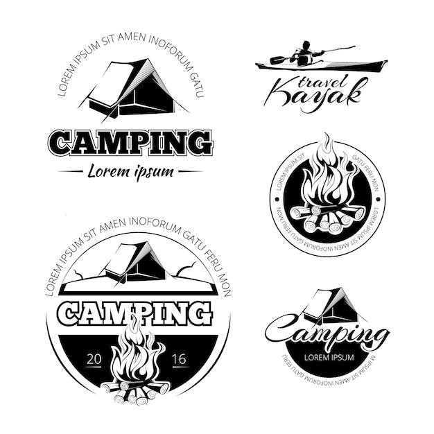 Кемпинг и походы набор эмблем и значков vectro. экспедиция на открытом воздухе и иллюстрация каяка Бесплатные векторы
