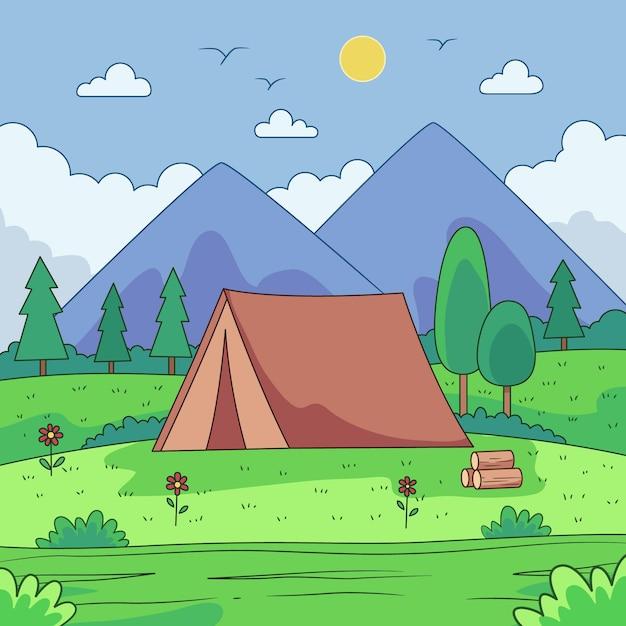 Camping area landscape concept Free Vector