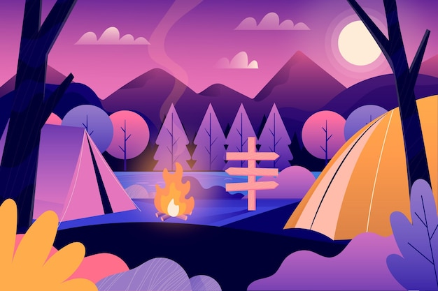 Camping area landscape concept Free Vector