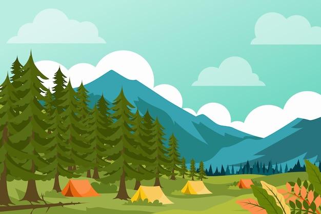 森とキャンプ場の風景イラスト Premiumベクター