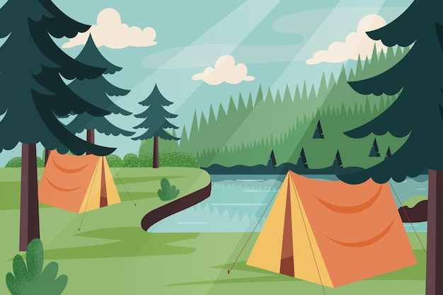 Camping area landscape illustration with tents and river Free Vector