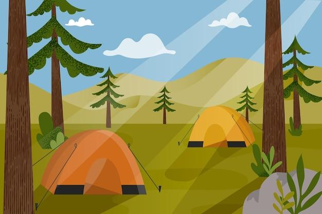 텐트와 캠핑 지역 풍경 그림 무료 벡터