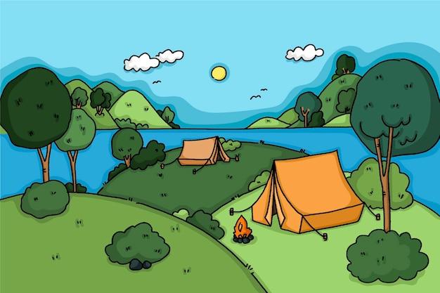 언덕이있는 캠핑 지역 풍경 무료 벡터