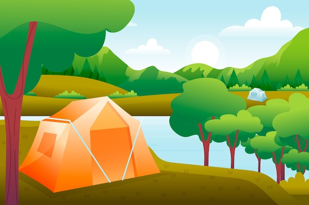 Camping area landscape with tent Free Vector