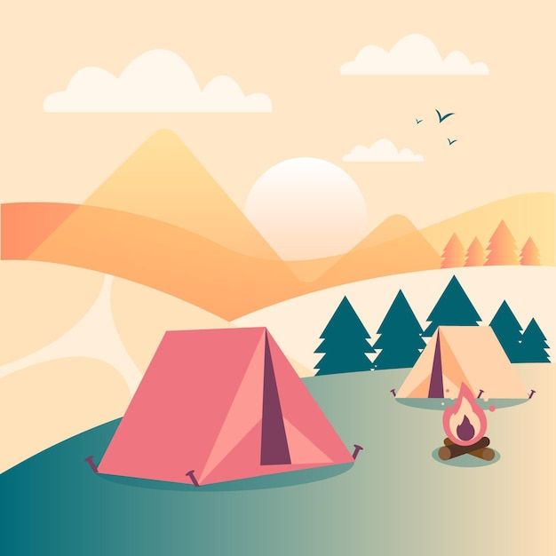 Camping area landscape Free Vector