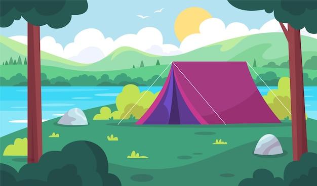 Camping area landscape Premium Vector