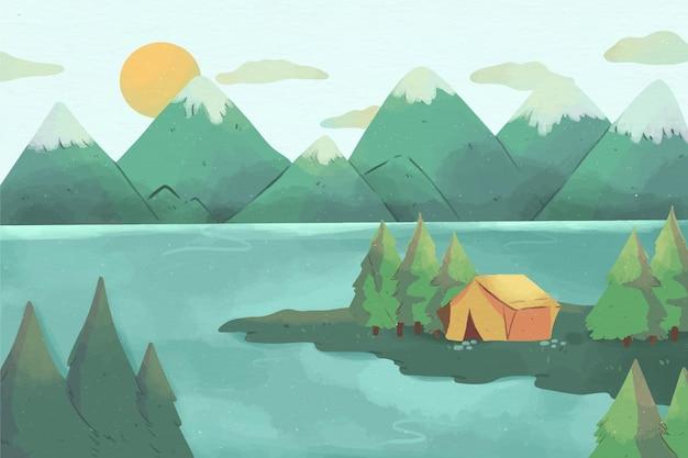 キャンプ場の風景 無料ベクター