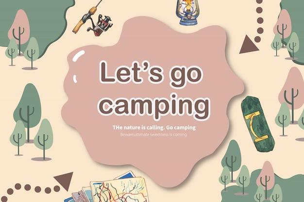 Располагаясь лагерем предпосылка с иллюстрацией штанги, швырка, барбекю и рыб. Бесплатные векторы