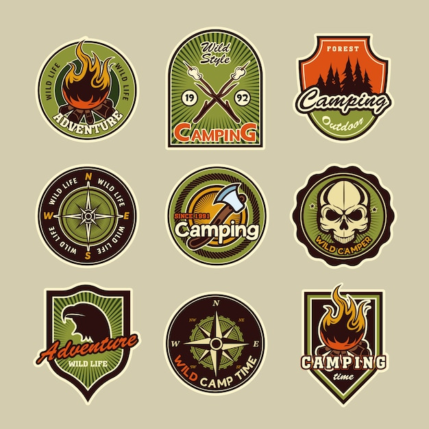 Camping badges set Free Vector