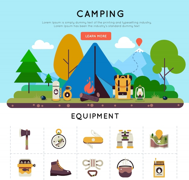 Camping banner set Free Vector