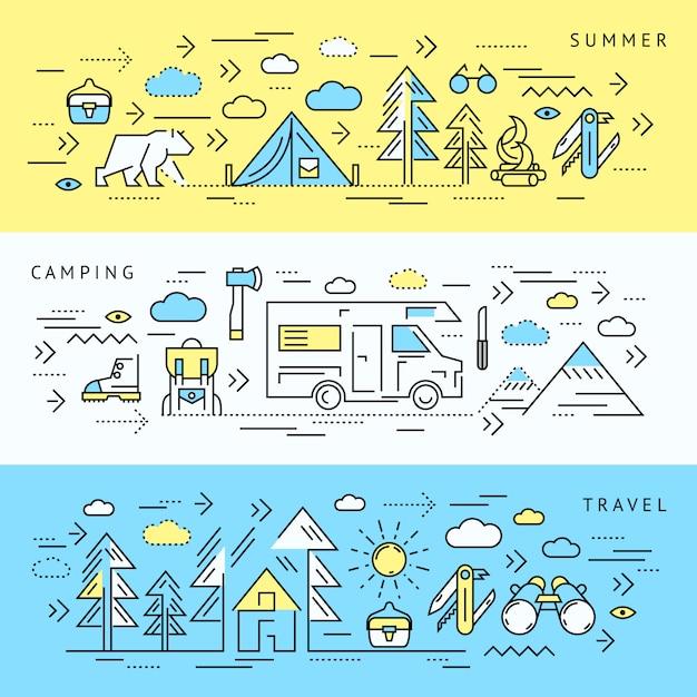 Set di banner da campeggio Vettore gratuito