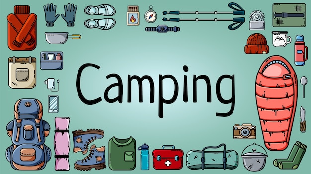 Camping banner with set of tourist items Premium Vector