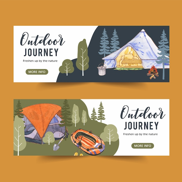 Camping banner with tree, tent and campfire  illustrations Free Vector