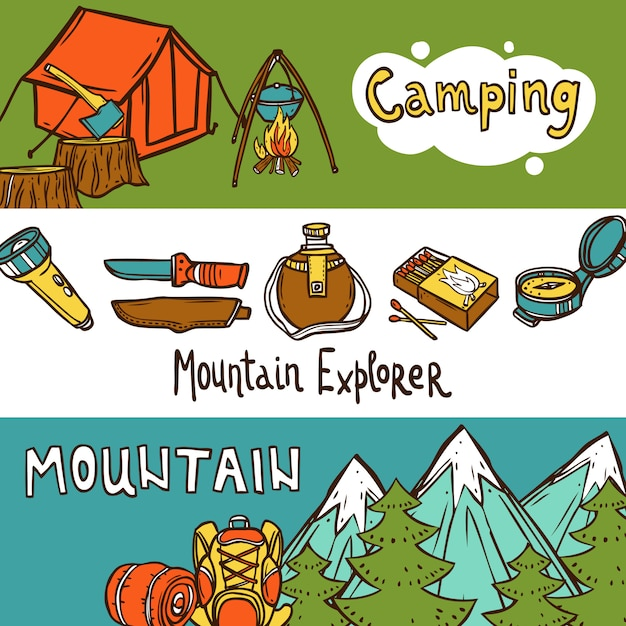 Camping banners horizontal Free Vector