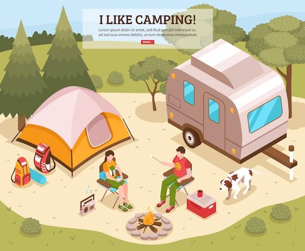 Modello isometrico barbecue da campeggio Vettore gratuito