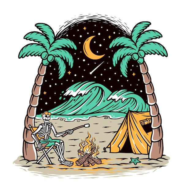 Camping on the beach Premium Vector