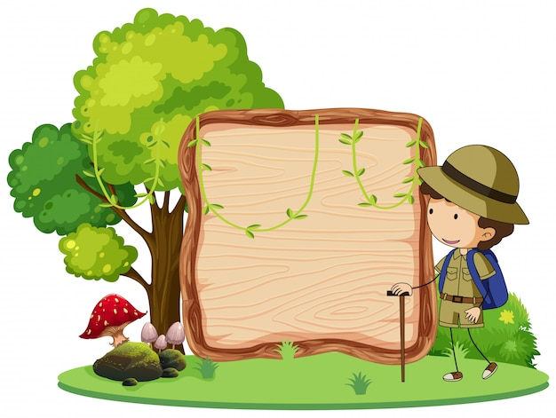 A camping boy banner Free Vector