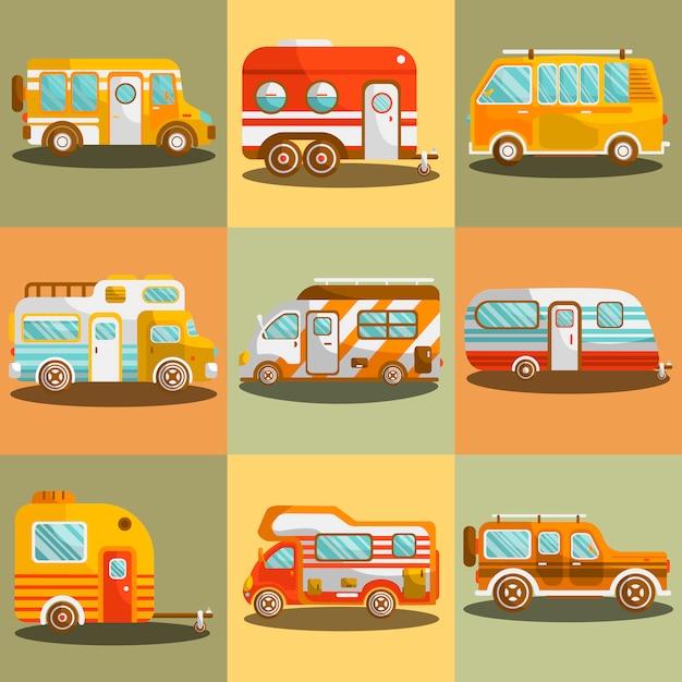 Camping bus or camper van vector illustration Premium Vector