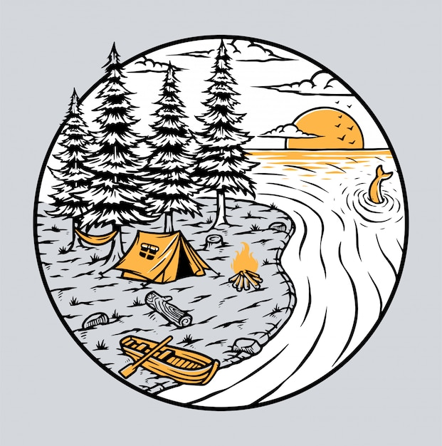 Camping by the lake illustration Premium Vector