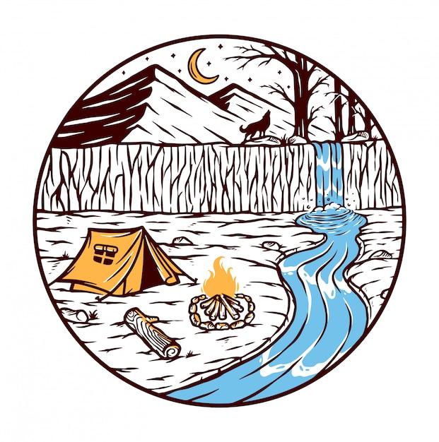 Кемпинг у реки иллюстрации Premium векторы