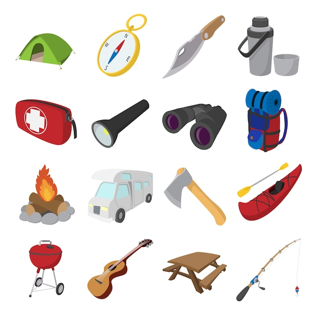 Camping cartoon icons isolated Premium Vector