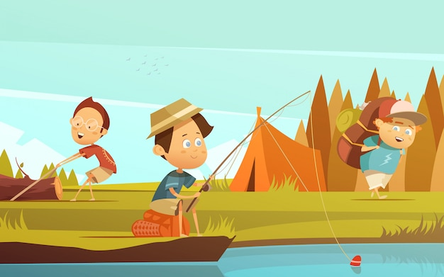 Camping children background with fishing tent and rucksack cartoon vector illustration Free Vector