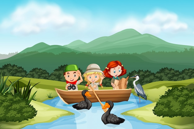 Camping children in the nature Premium Vector