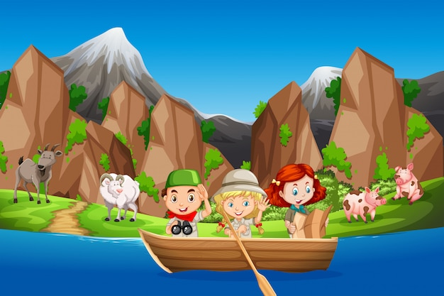 Camping children paddle wooden boat Premium Vector