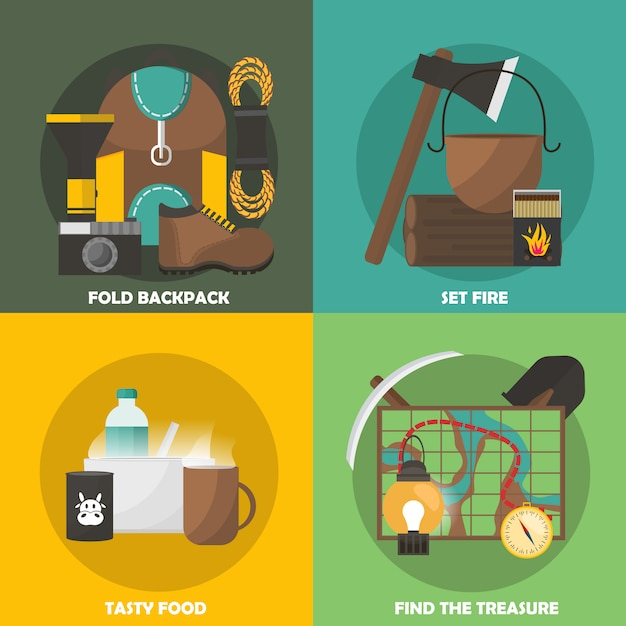 Camping colored compositions Free Vector