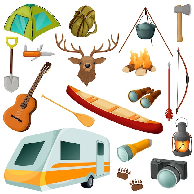 Camping colored isolated icon set with equipments and elements of outfit for hiking vector illustration Free Vector