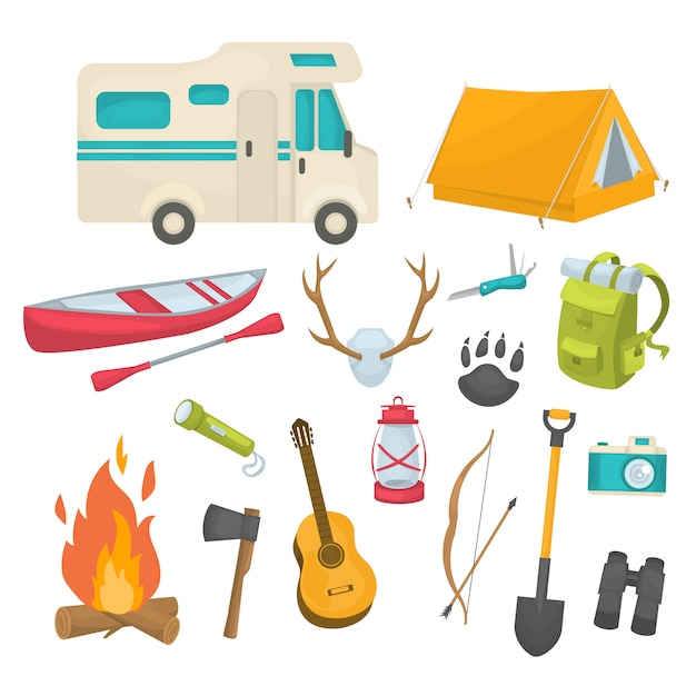 Camping decorative icons set Free Vector