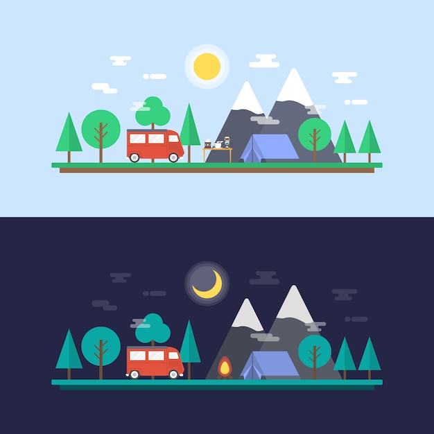 Camping designs collection Free Vector