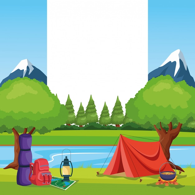 Camping elements in a rural landscape Free Vector