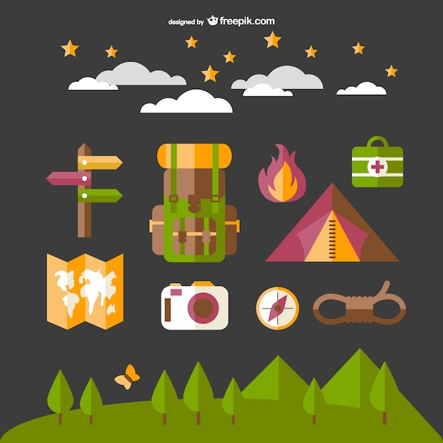 Camping elements set with map, fire and tent Free Vector