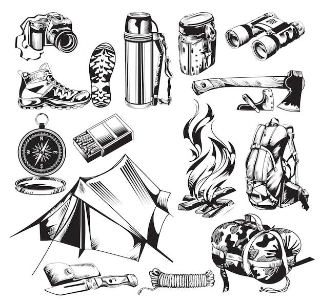 Set di elementi di campeggio Vettore gratuito