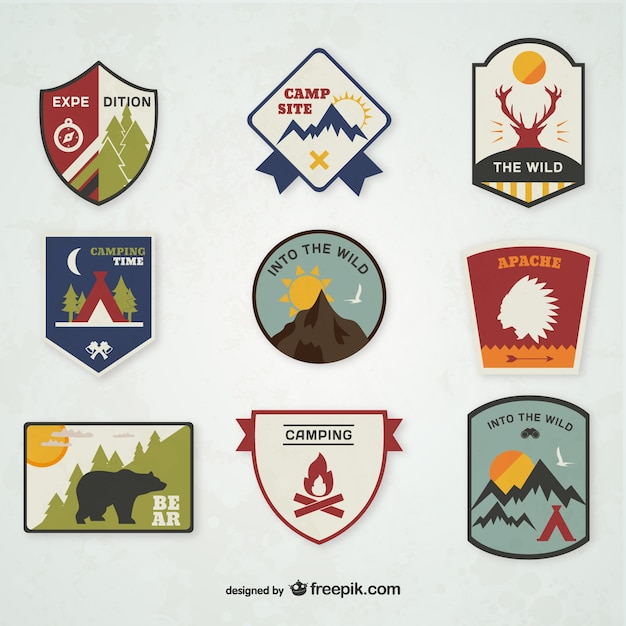 Camping Emblems Set Vector Free Download