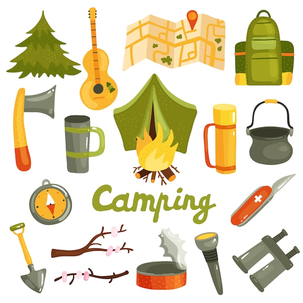 Camping equipment collection Free Vector