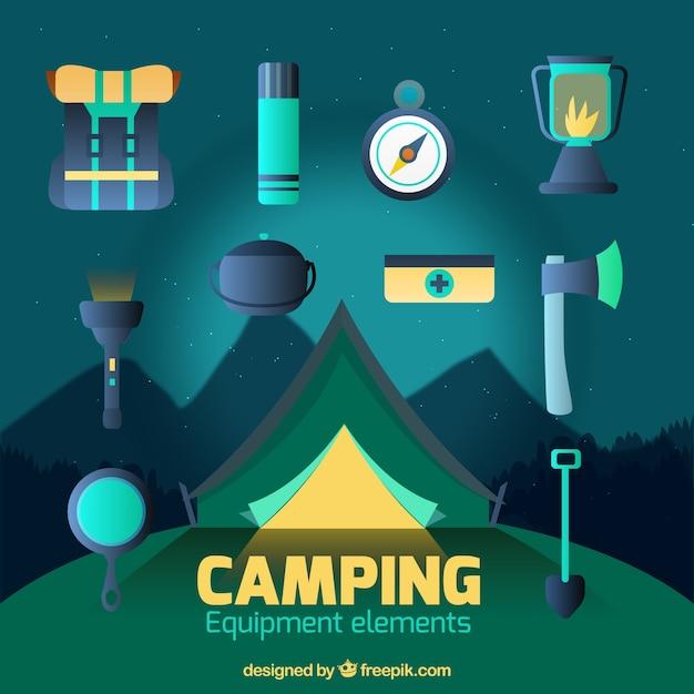 Camping equipment elements set