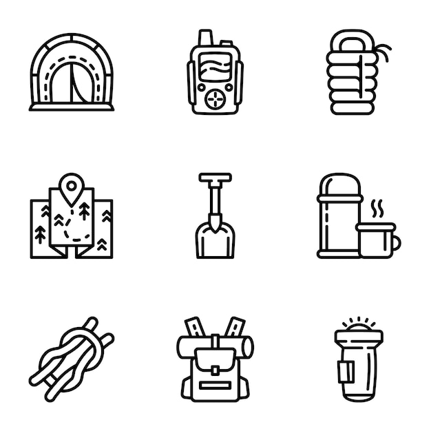Camping equipment icon set, outline style Premium Vector