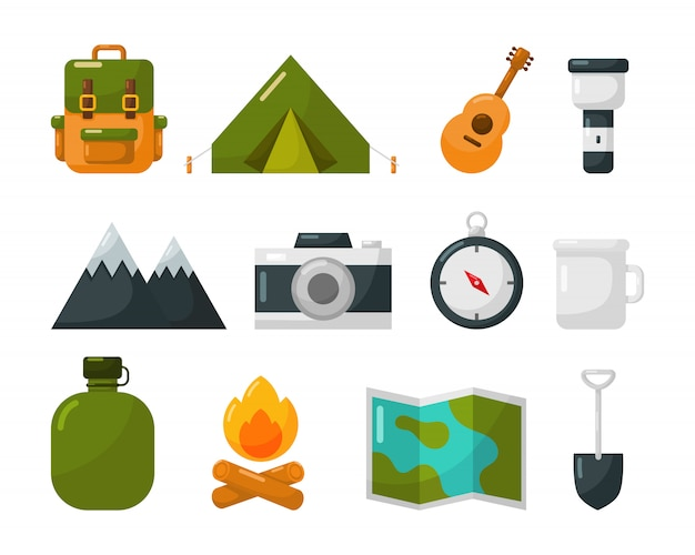 Camping equipment icons set isolate on white Premium Vector