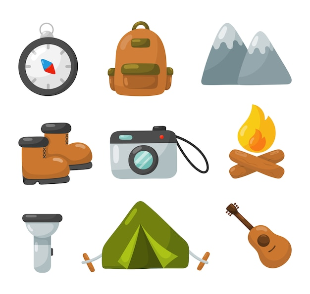 Camping equipment icons set isolated on white background. Premium Vector