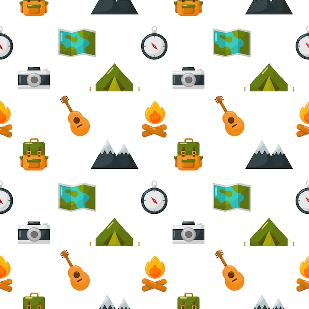 Camping equipment icons set seamless pattern isolate on white Premium Vector