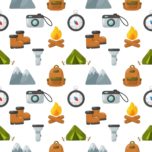 Camping equipment icons set seamless pattern isolated on white background. Premium Vector