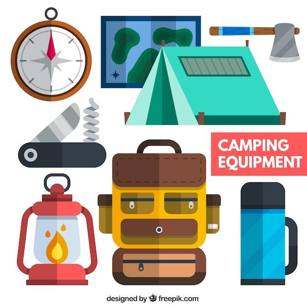 Camping Equipment In Flat Design Premium Vector