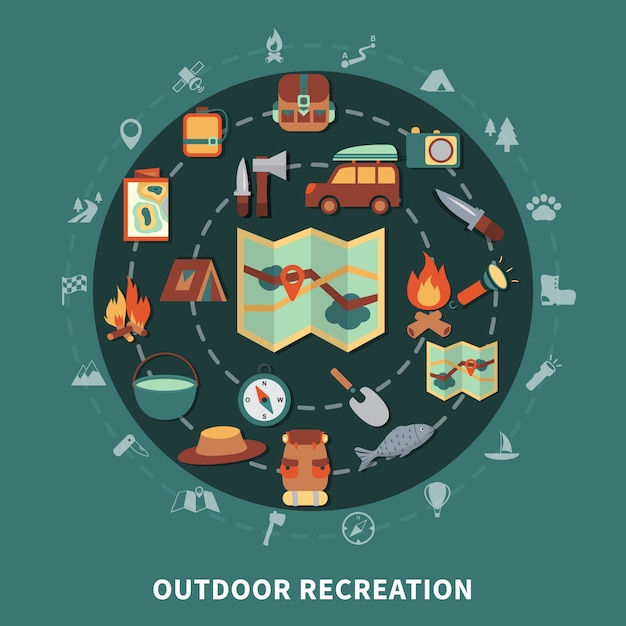 Camping flat composition Free Vector