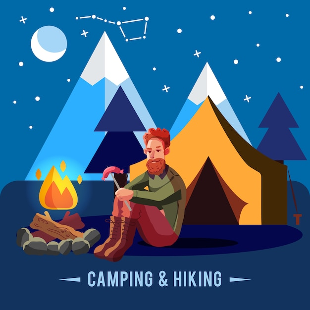 Camping flat set with hiking equipment and\ outdoors cooking icons